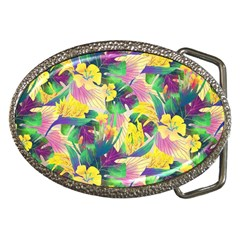 Tropical Flowers And Leaves Background Belt Buckles
