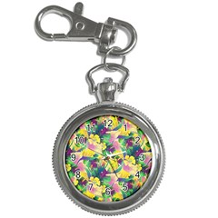 Tropical Flowers And Leaves Background Key Chain Watches