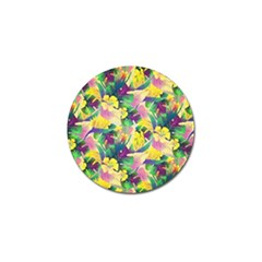 Tropical Flowers And Leaves Background Golf Ball Marker (4 pack)