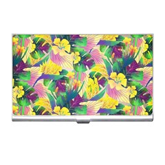 Tropical Flowers And Leaves Background Business Card Holders
