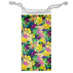 Tropical Flowers And Leaves Background Jewelry Bags