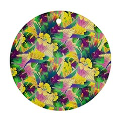 Tropical Flowers And Leaves Background Round Ornament (two Sides)