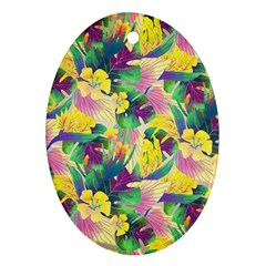Tropical Flowers And Leaves Background Oval Ornament (Two Sides)