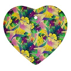 Tropical Flowers And Leaves Background Heart Ornament (2 Sides)