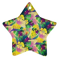 Tropical Flowers And Leaves Background Star Ornament (Two Sides)