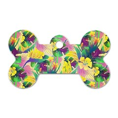 Tropical Flowers And Leaves Background Dog Tag Bone (One Side)