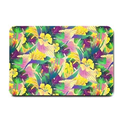 Tropical Flowers And Leaves Background Small Doormat