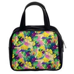 Tropical Flowers And Leaves Background Classic Handbags (2 Sides)