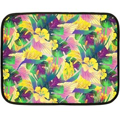 Tropical Flowers And Leaves Background Fleece Blanket (Mini)