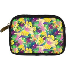 Tropical Flowers And Leaves Background Digital Camera Cases