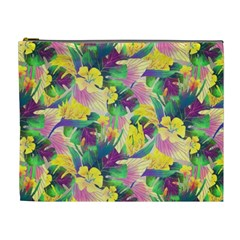 Tropical Flowers And Leaves Background Cosmetic Bag (XL)