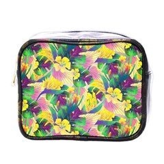 Tropical Flowers And Leaves Background Mini Toiletries Bags