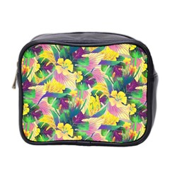 Tropical Flowers And Leaves Background Mini Toiletries Bag 2-Side