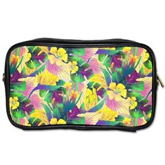 Tropical Flowers And Leaves Background Toiletries Bags