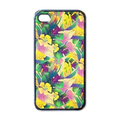 Tropical Flowers And Leaves Background Apple iPhone 4 Case (Black)