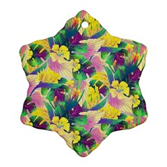 Tropical Flowers And Leaves Background Snowflake Ornament (2 Side)