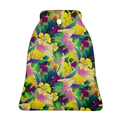 Tropical Flowers And Leaves Background Bell Ornament (2 Sides)
