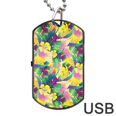 Tropical Flowers And Leaves Background Dog Tag USB Flash (Two Sides)