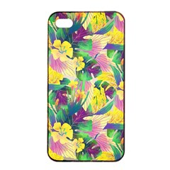 Tropical Flowers And Leaves Background Apple iPhone 4/4s Seamless Case (Black)