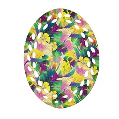 Tropical Flowers And Leaves Background Ornament (Oval Filigree)
