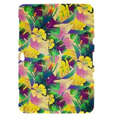 Tropical Flowers And Leaves Background Samsung Galaxy Tab 8.9  P7300 Hardshell Case