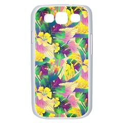 Tropical Flowers And Leaves Background Samsung Galaxy S III Case (White)