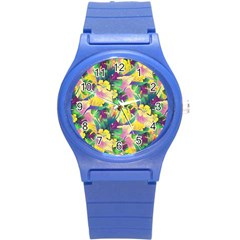 Tropical Flowers And Leaves Background Round Plastic Sport Watch (S)