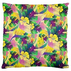 Tropical Flowers And Leaves Background Large Cushion Case (One Side)