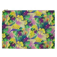 Tropical Flowers And Leaves Background Cosmetic Bag (XXL)