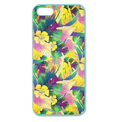 Tropical Flowers And Leaves Background Apple Seamless iPhone 5 Case (Color)