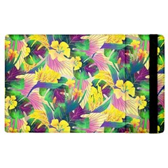 Tropical Flowers And Leaves Background Apple iPad 3/4 Flip Case
