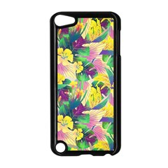 Tropical Flowers And Leaves Background Apple iPod Touch 5 Case (Black)