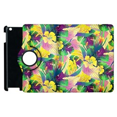 Tropical Flowers And Leaves Background Apple iPad 2 Flip 360 Case