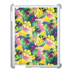 Tropical Flowers And Leaves Background Apple iPad 3/4 Case (White)