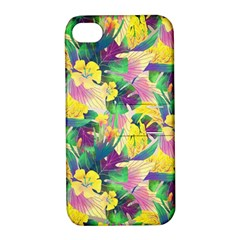 Tropical Flowers And Leaves Background Apple Iphone 4/4s Hardshell Case With Stand