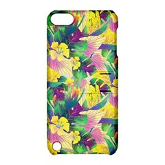 Tropical Flowers And Leaves Background Apple iPod Touch 5 Hardshell Case with Stand