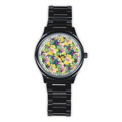 Tropical Flowers And Leaves Background Stainless Steel Round Watch