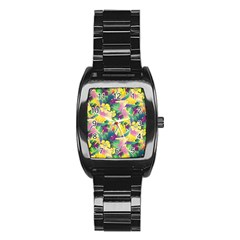 Tropical Flowers And Leaves Background Stainless Steel Barrel Watch