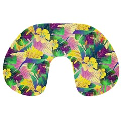 Tropical Flowers And Leaves Background Travel Neck Pillows