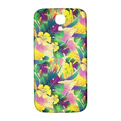 Tropical Flowers And Leaves Background Samsung Galaxy S4 I9500/I9505  Hardshell Back Case