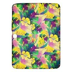 Tropical Flowers And Leaves Background Samsung Galaxy Tab 3 (10.1 ) P5200 Hardshell Case