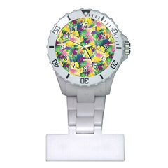 Tropical Flowers And Leaves Background Plastic Nurses Watch