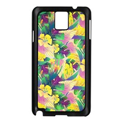 Tropical Flowers And Leaves Background Samsung Galaxy Note 3 N9005 Case (Black)