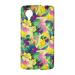 Tropical Flowers And Leaves Background LG Nexus 5