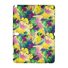 Tropical Flowers And Leaves Background Samsung Galaxy Note 10.1 (P600) Hardshell Case