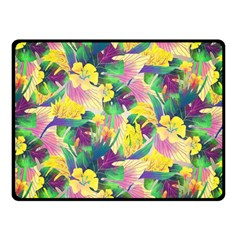 Tropical Flowers And Leaves Background Double Sided Fleece Blanket (small)