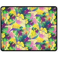 Tropical Flowers And Leaves Background Double Sided Fleece Blanket (Medium)
