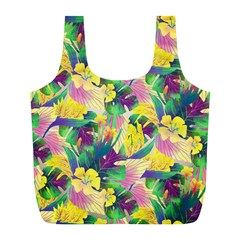 Tropical Flowers And Leaves Background Full Print Recycle Bags (L)
