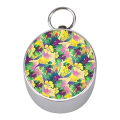 Tropical Flowers And Leaves Background Mini Silver Compasses