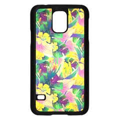 Tropical Flowers And Leaves Background Samsung Galaxy S5 Case (Black)